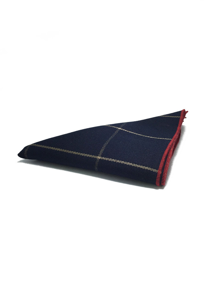 Folio Series Dark Blue Checked Viscose Pocket Square
