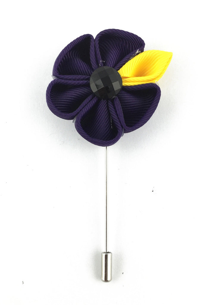 Violet Fabric Flower Lapel Pin