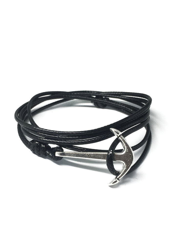 Ore Series Black Cord Silver Anchor Bracelet