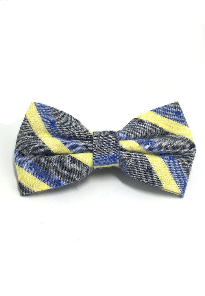 Probe Series Blue, Yellow and Black Striped Pattern Design Cotton Pre-tied Bow Tie