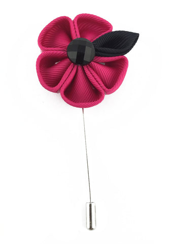 Pink Fabric Flower Lapel Pin
