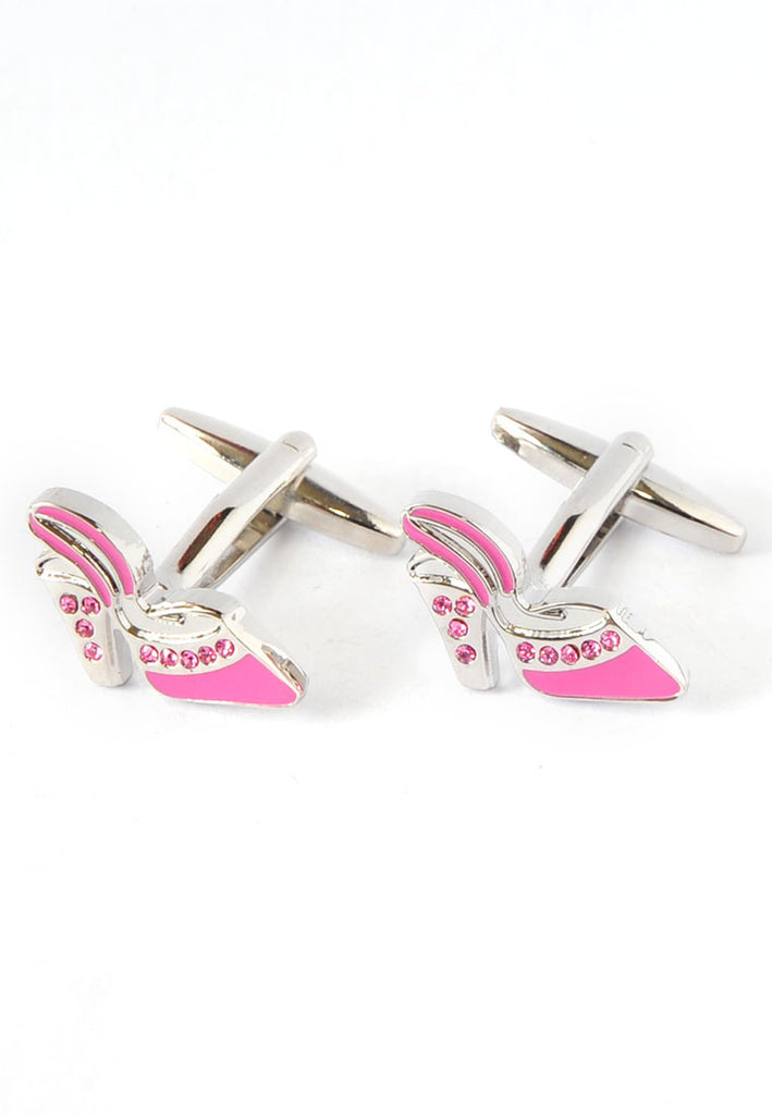 Pink Shoe with Crystals Cufflinks
