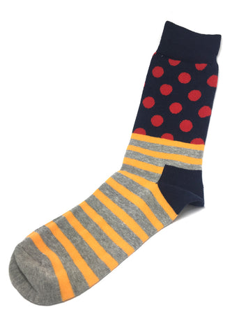 Even-Steven Series Orange Stripes Red Polka Dots Black Socks