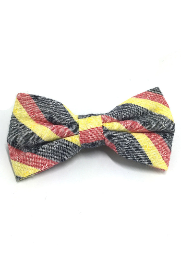 Probe Series Yellow, Red and Black Striped Pattern Design Cotton Pre-tied Bow Tie