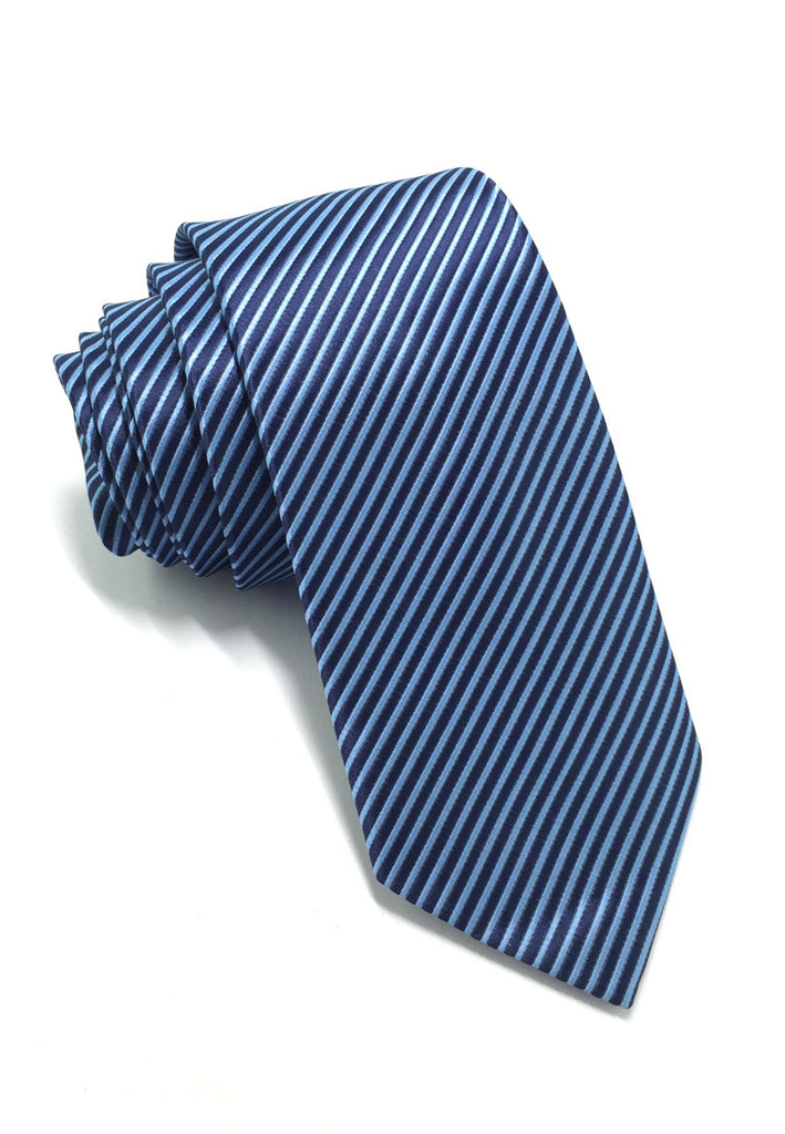 Regalia Series Navy Blue Stripes Polyester Fabric Tie