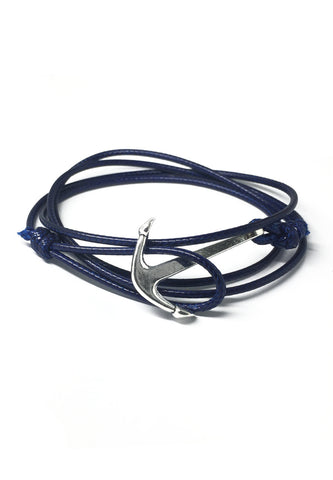 Ore Series Dark Blue Cord Silver Anchor Bracelet