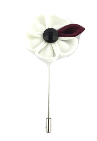 White Fabric Flower Lapel Pin