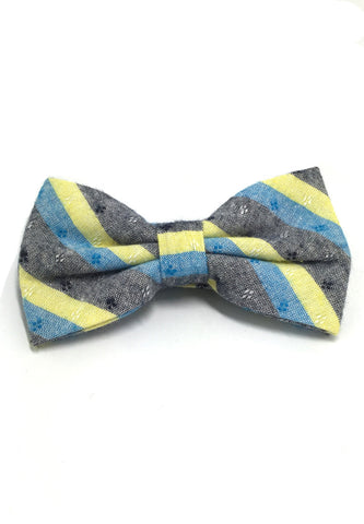 Probe Series Turquoise, Yellow and Black Striped Pattern Design Cotton Pre-tied Bow Tie