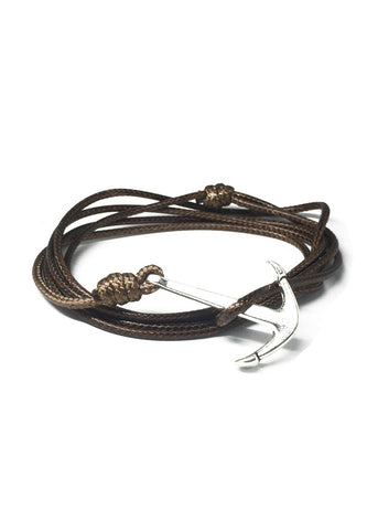Ore Series Brown Cord Silver Anchor Bracelet