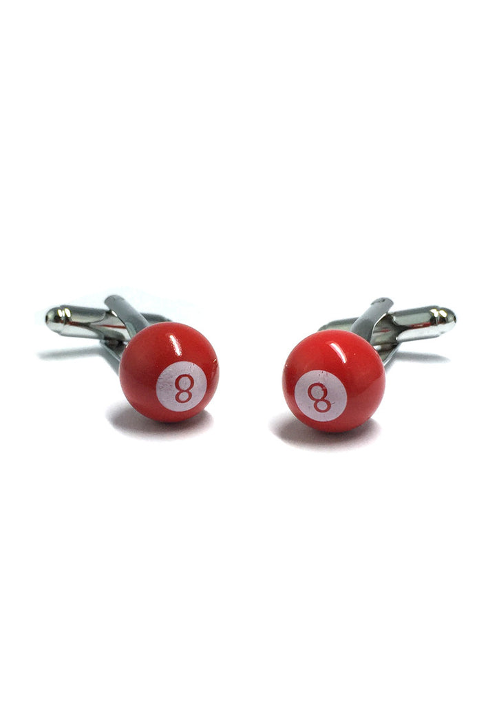 Red 8 Pool Ball Cufflinks