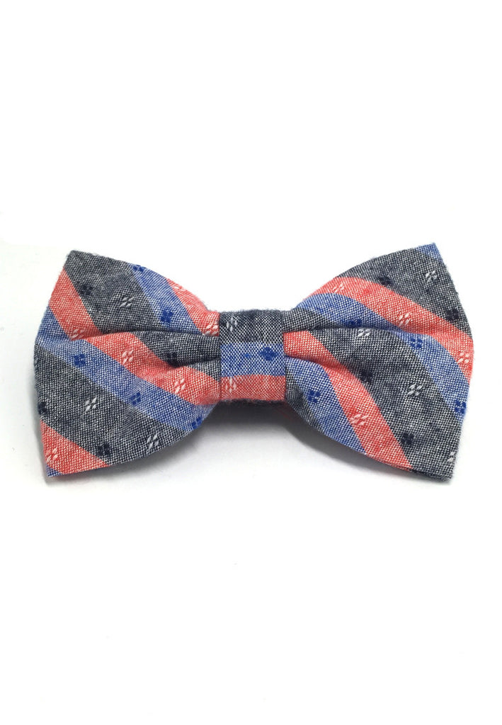 Probe Series Blue, Red and Black Striped Pattern Design Cotton Pre-tied Bow Tie