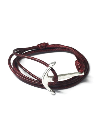 Ore Series Dark Red Cord Silver Anchor Bracelet