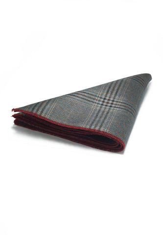 Folio Series Silver Tartan Design Viscose Pocket Square