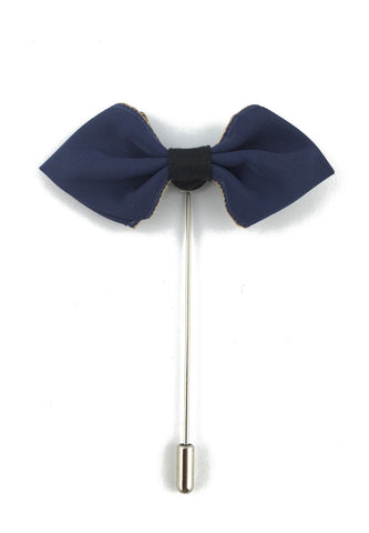 Navy Blue Fabric Cloth Bow Lapel Pin