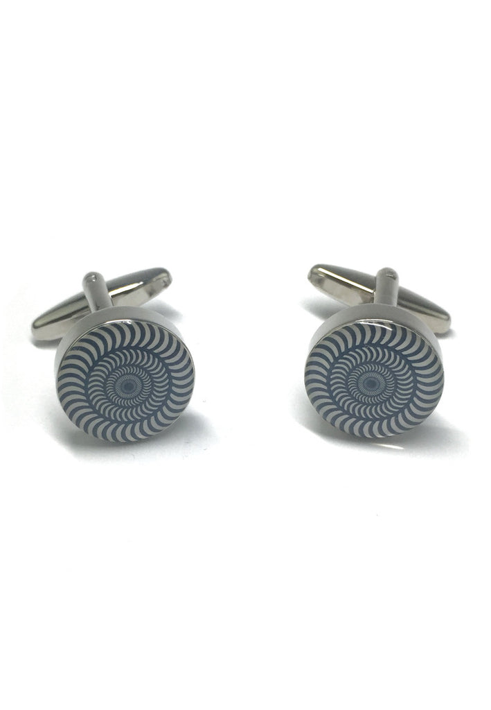 Concentric Funky Black & White Pattern Cufflinks