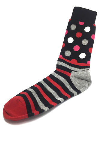 Even-Steven Series Red and Black Stripes Polka Dots Black Socks