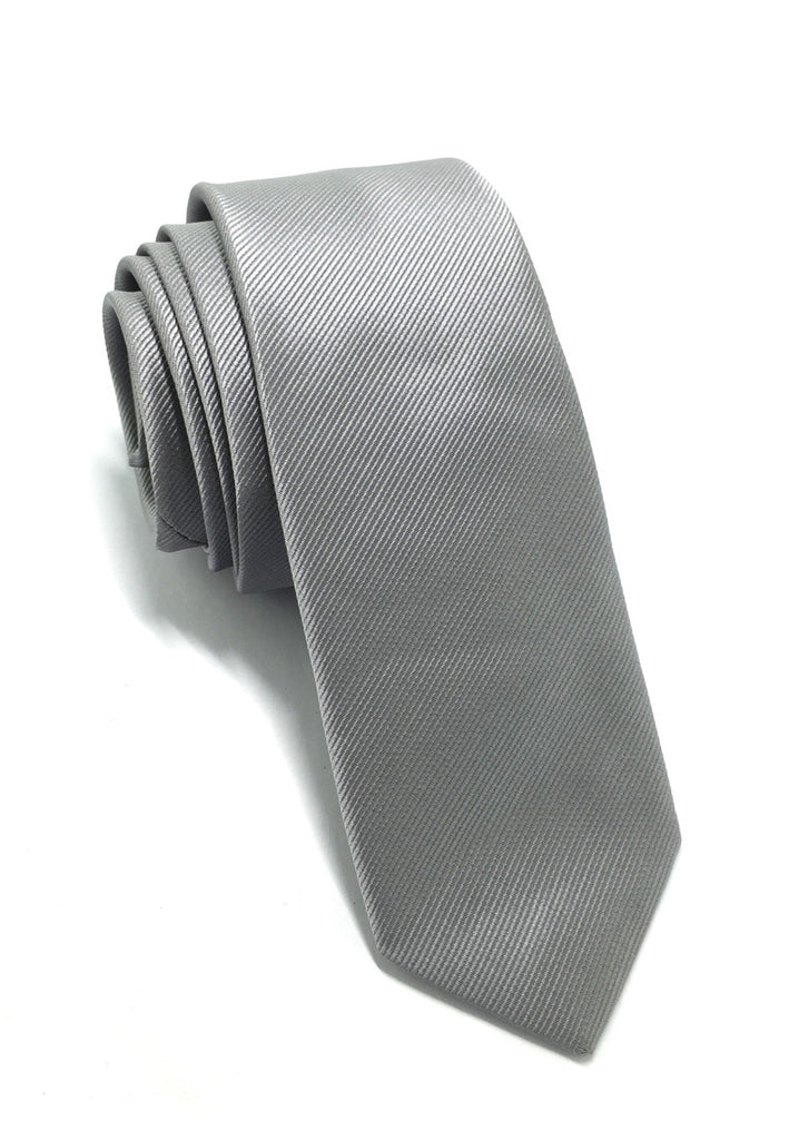 Palpable Series Silver Polyester Fabric Tie