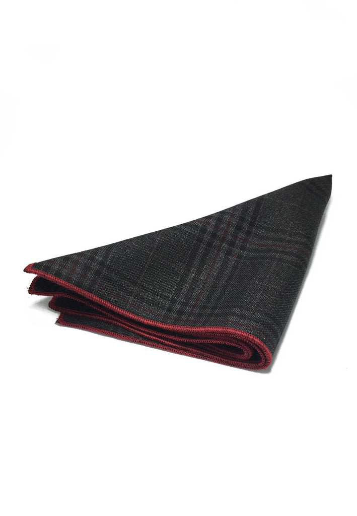 Folio Series Gunmetal Grey Tartan Design Viscose Pocket Square