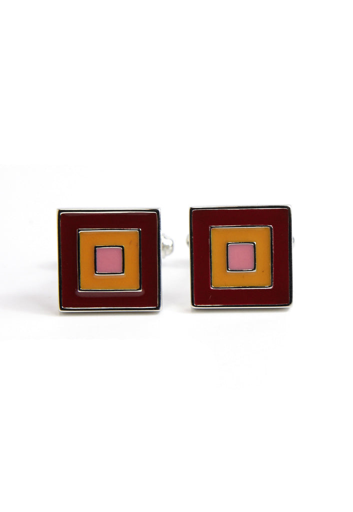Square Cufflinks with Red Pink & Orange Squares