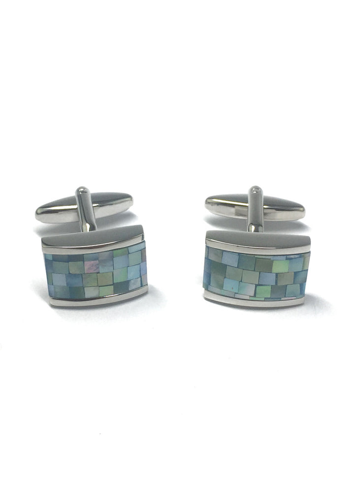 Curved Blue Mother of Pearl Rhodium Plated Cufflinks
