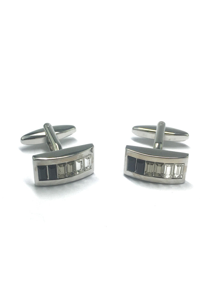 Curved Rhodium Plated Cufflinks with Graded Black Smoke Grey & Clear Crystals