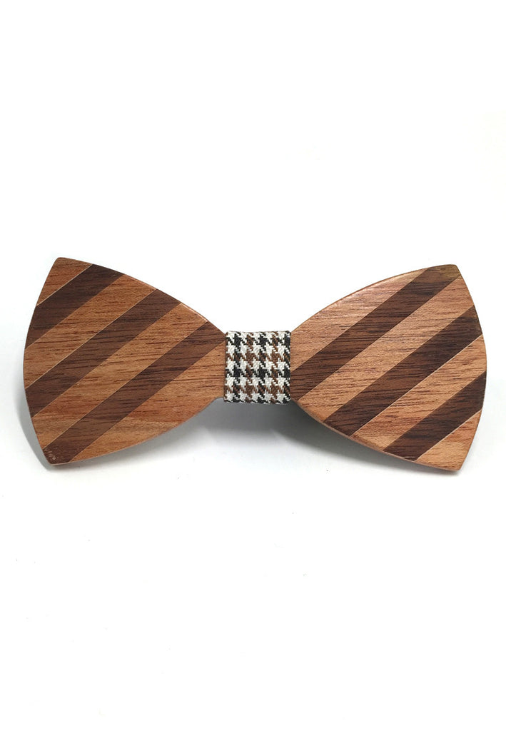 Grove Series Striped Design Wood Bow Tie