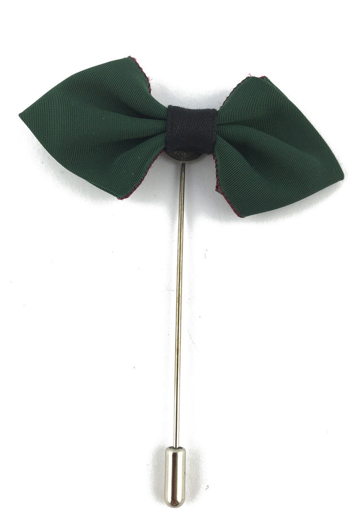 Dark Green Fabric Cloth Bow Lapel Pin