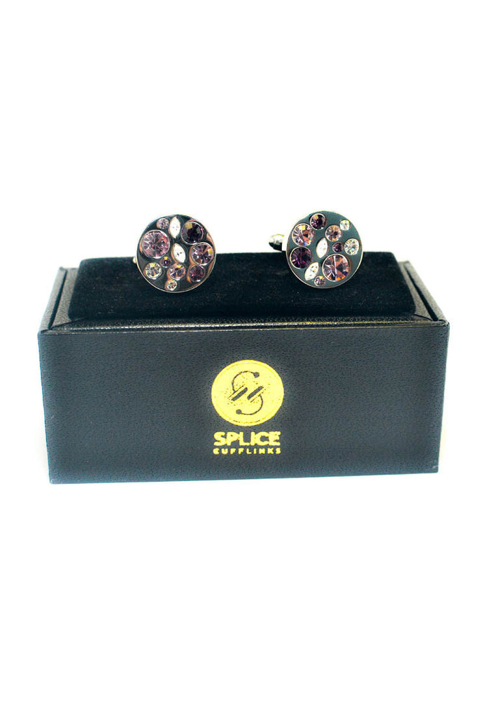 Round Purple Diamante Cufflinks