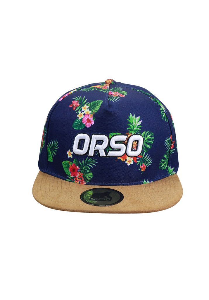 Orso Limited Edition Light Brown Visor Navy Blue Floral Design Cap