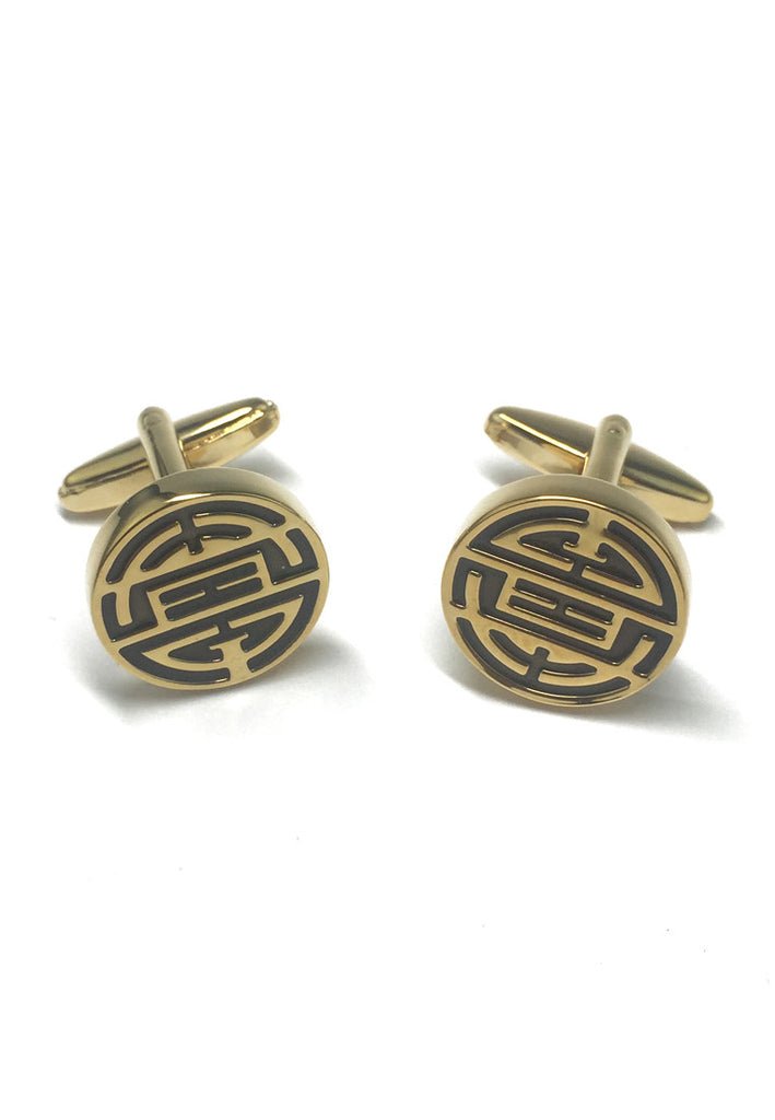 Gold Plated & Black Chinese Longevity Symbol Cufflinks
