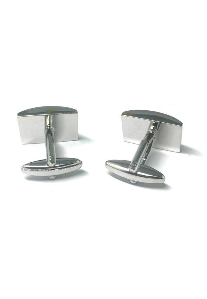 High Quality Curved Black Design Rhodium Plated Cufflinks