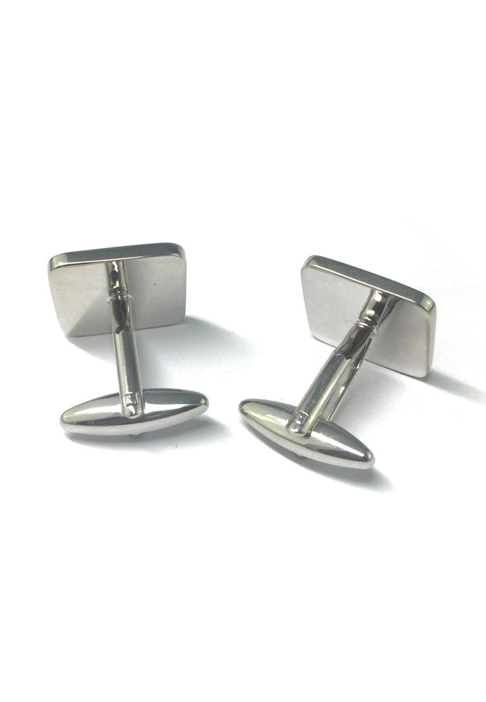 High quality Black Enamelled Rhodium Plated Cufflinks