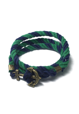 Kedge Series Navy Blue and Green thick Nylon Strap Brass Anchor Bracelet