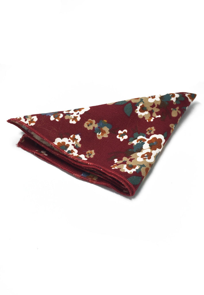 Posy Series Dark Red Floral Pattern Cotton Pocket Square