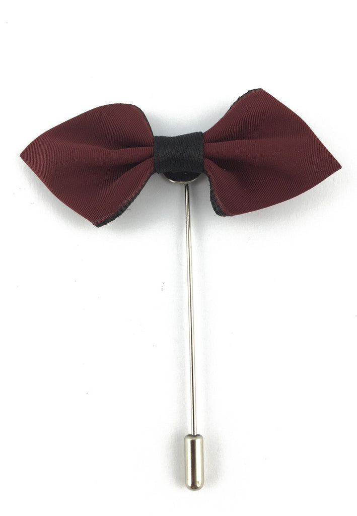 Maroon Red Fabric Bow Cloth Lapel Pin