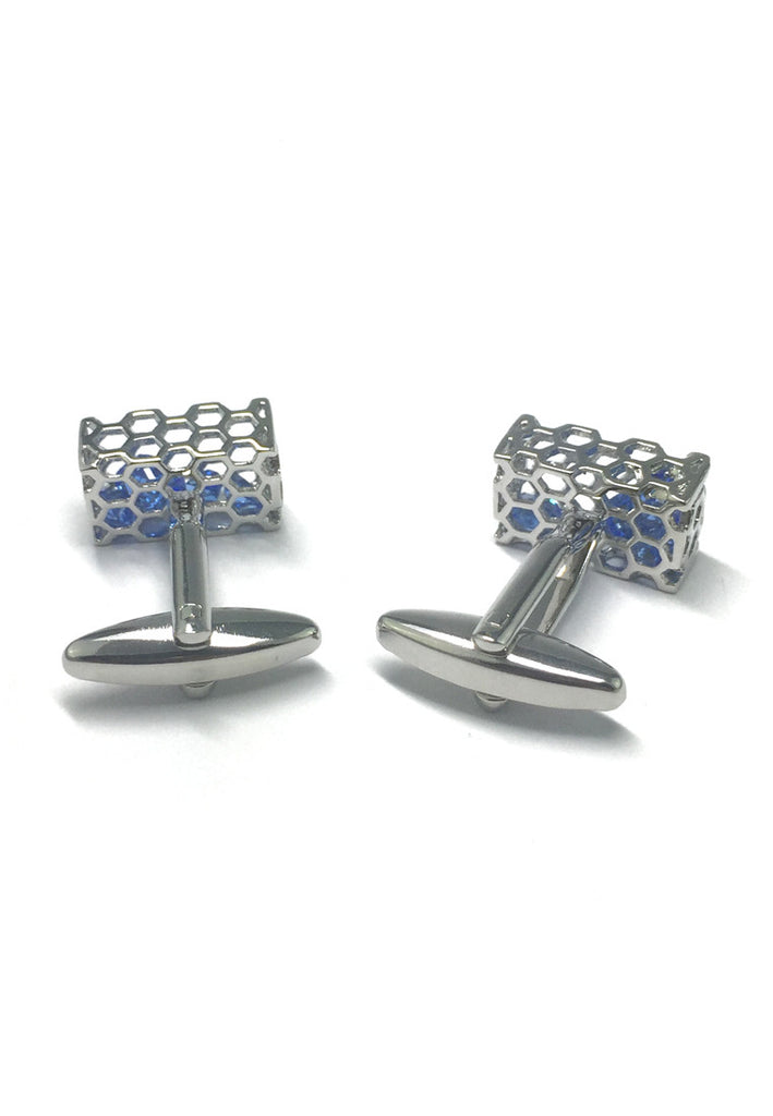 Honeycomb Blue Crystal Basket Cufflinks