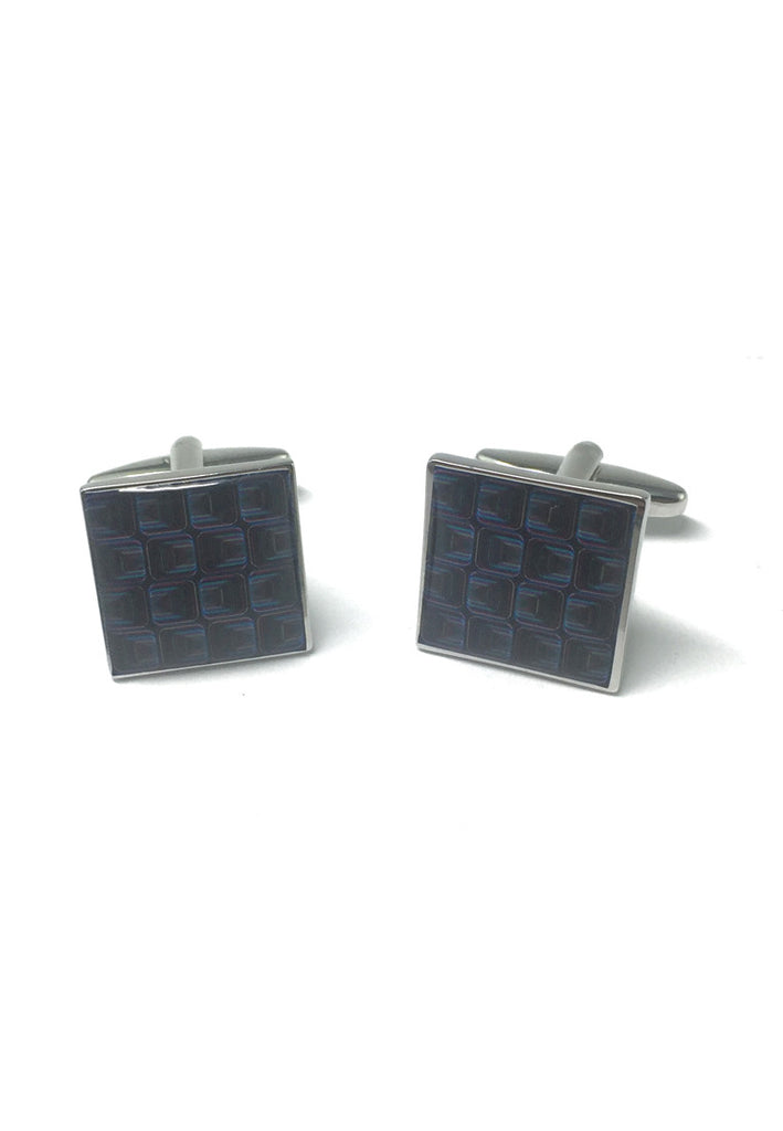 Funky Retro Blue Squares Pattern Cufflinks