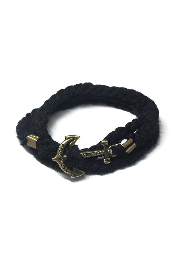 Kedge Series Black thick Nylon Strap Brass Anchor Bracelet