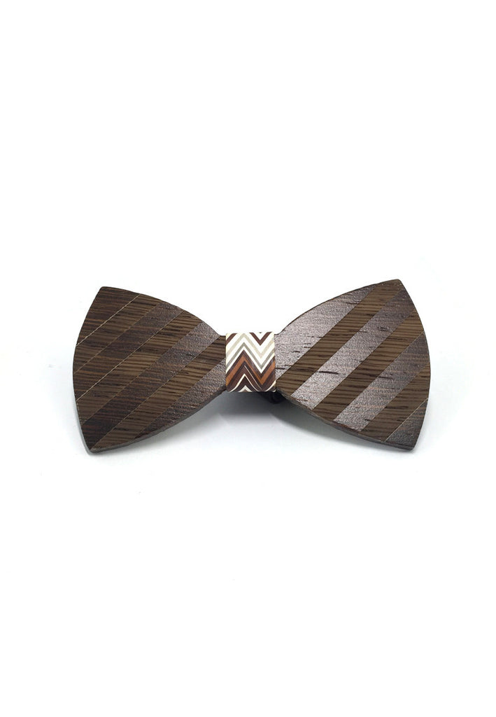 Grove Series Striped Design Dark Wood Bow Tie