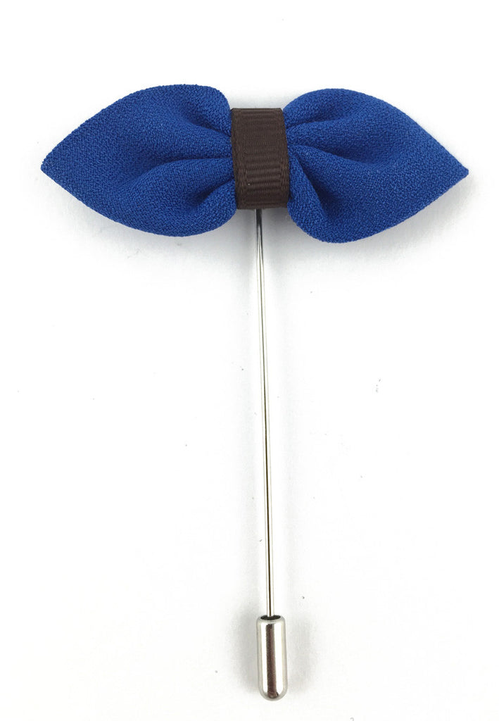 Blue Fabric Bow Lapel Pin