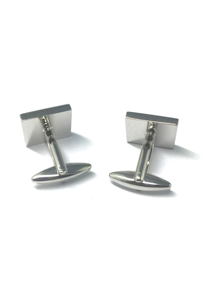 Square Black with Crystal Circle Crystals Cufflinks
