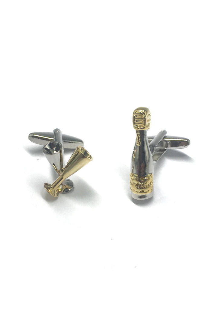 Champagne Bottle and Flute Cufflinks