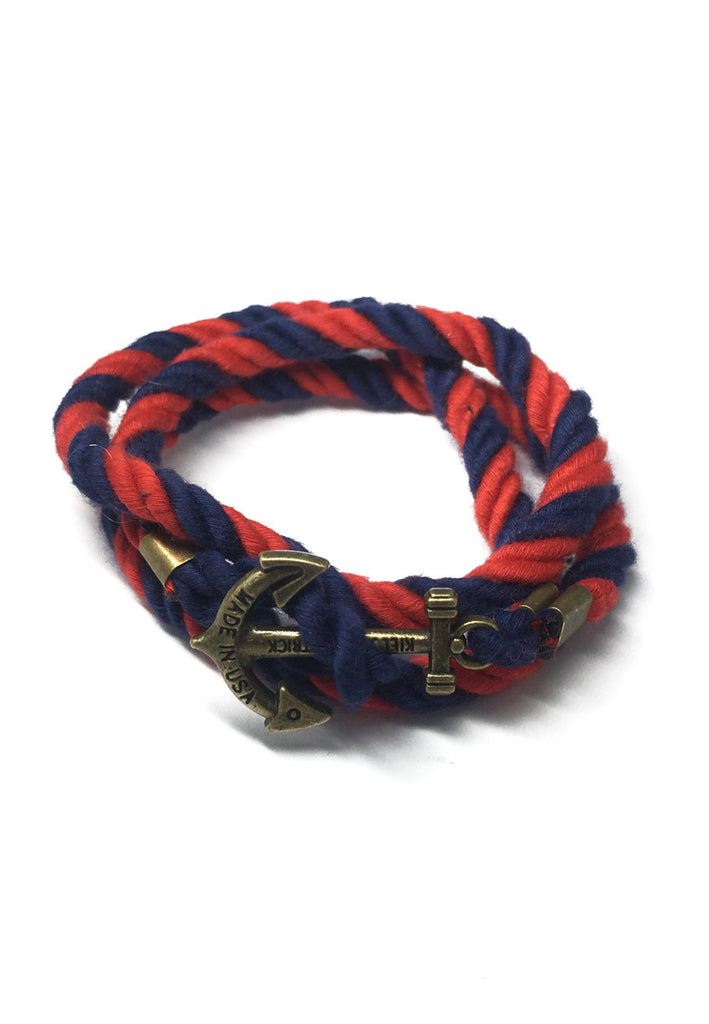 Kedge Series Navy Blue and Red thick Nylon Strap Brass Anchor Bracelet