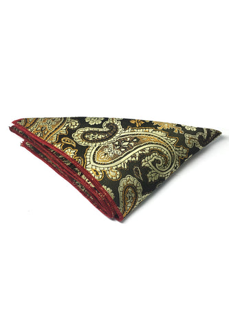 Taj Series Gold Paisley Design Dark Green Polyester Pocket Square