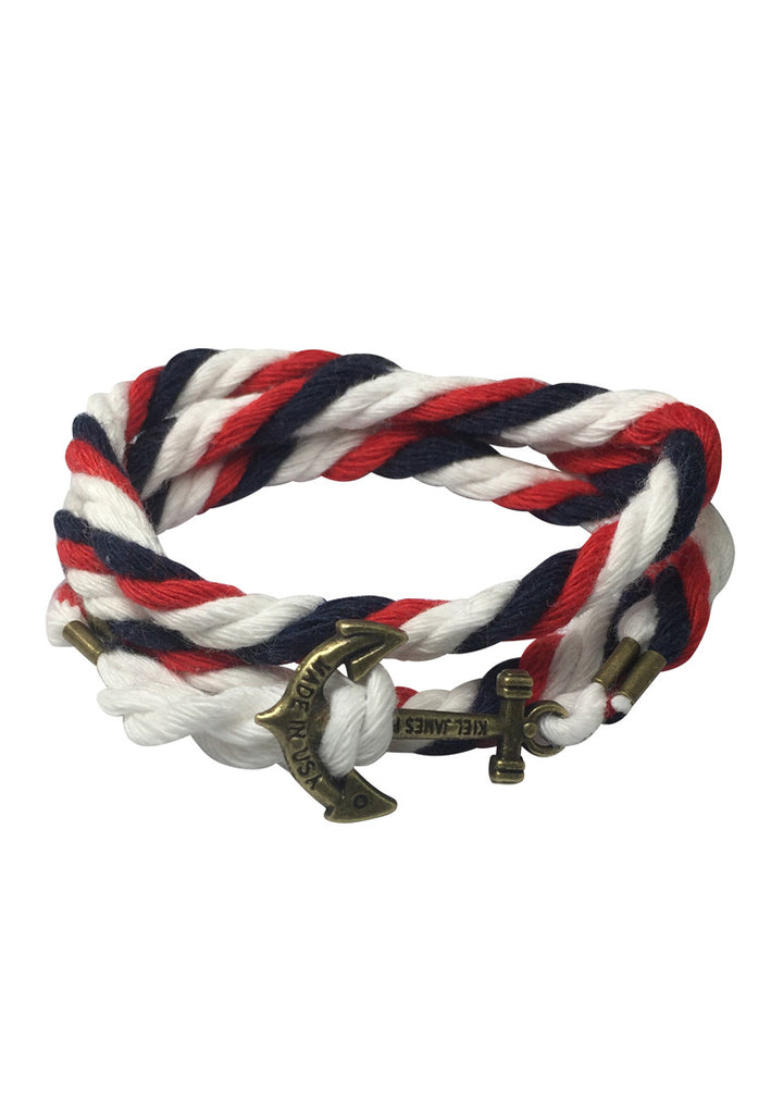 Kedge Series Navy Blue, Red and White thick Nylon Strap Brass Anchor Bracelet