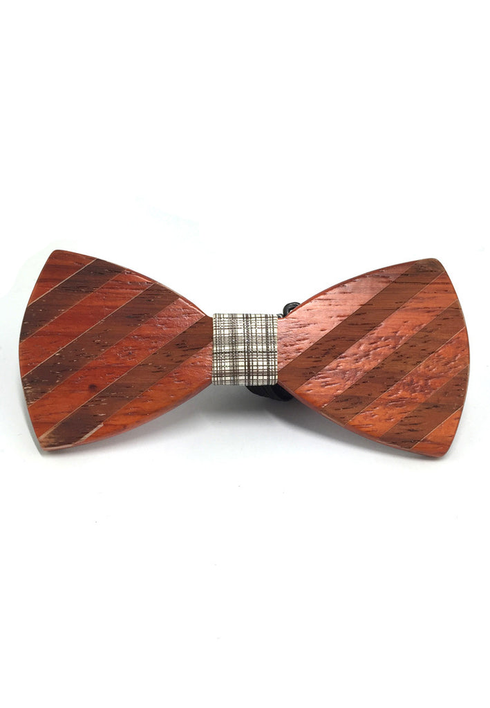 Grove Series Striped Design Golden Wood Bow Tie