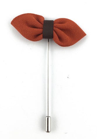 Orange Fabric Bow Lapel Pin