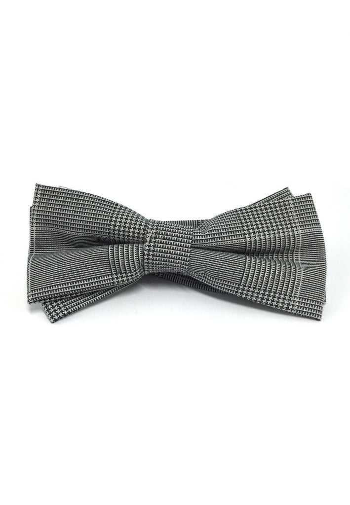 Lucid Series Grey Patterned Polyester Fabric Bow Tie