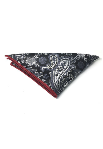 Taj Series Silver Grey Paisley Design Black Polyester Pocket Square