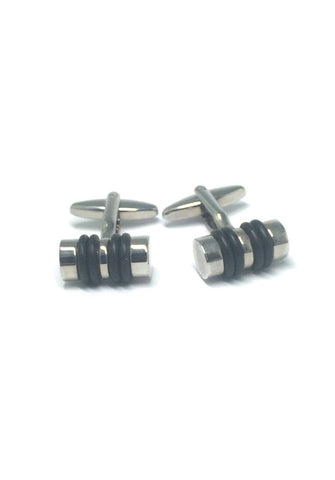 Black and Silver Cylinder Cufflinks